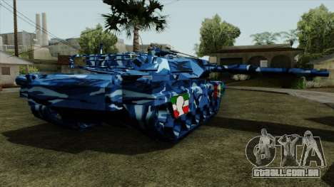 Azul de camuflagem militar, para o tanque para GTA San Andreas esquerda vista