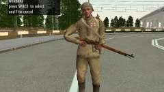 Os soldados do exército vermelho no capacete