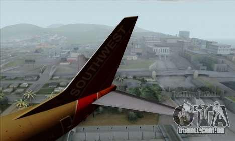 Boeing 737-800 Southwest Gold para GTA San Andreas traseira esquerda vista