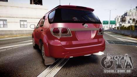 Toyota Hilux SW4 2015 para GTA 4 traseira esquerda vista