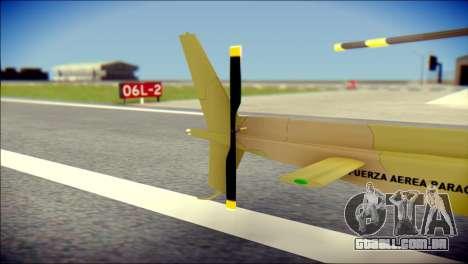 Esquilo 350 Fuerza Aerea Paraguaya para GTA San Andreas traseira esquerda vista