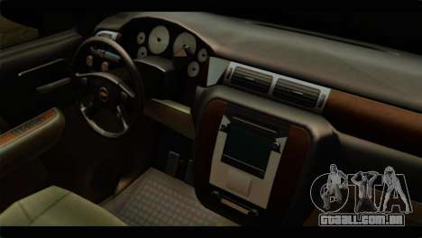 Chevrolet Suburban 2010 FBI para GTA San Andreas vista direita