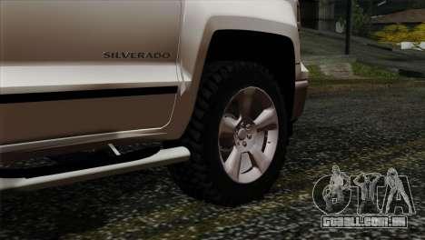 Chevrolet Silverado 2014 LTZ para GTA San Andreas traseira esquerda vista