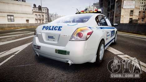 Nissan Altima Hybrid NYPD para GTA 4 traseira esquerda vista