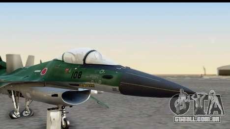 F-2A Zero Dark Green para GTA San Andreas traseira esquerda vista