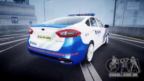 Ford Fusion 2014 Belgian Police [ELS] para GTA 4 traseira esquerda vista