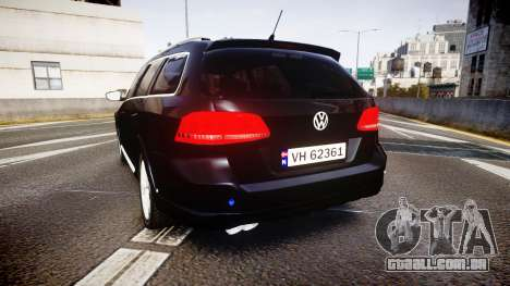 Volkswagen Passat B7 Police 2015 [ELS] unmarked para GTA 4 traseira esquerda vista