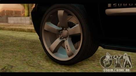 Chevrolet Suburban 2010 FBI para GTA San Andreas traseira esquerda vista