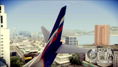 Boeing 737-800 Aeroflot para GTA San Andreas traseira esquerda vista