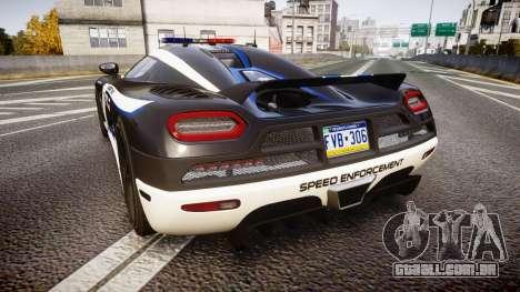 Koenigsegg Agera 2013 Police [EPM] v1.1 PJ3 para GTA 4 traseira esquerda vista