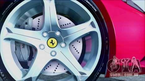 Ferrari California 2009 para GTA San Andreas traseira esquerda vista