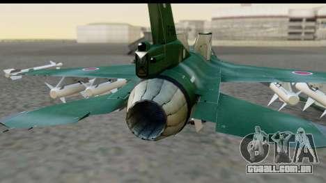 F-2A Zero Dark Green para GTA San Andreas vista traseira