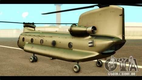 CH-47 Chinook para GTA San Andreas esquerda vista