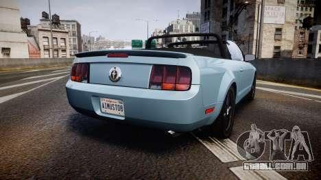 Ford Mustang Convertible Mk.V 2008 para GTA 4 traseira esquerda vista