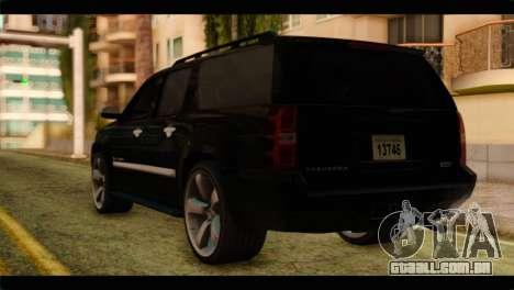 Chevrolet Suburban 2010 FBI para GTA San Andreas esquerda vista