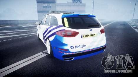 Ford Fusion Estate 2014 Belgian Police [ELS] para GTA 4 traseira esquerda vista