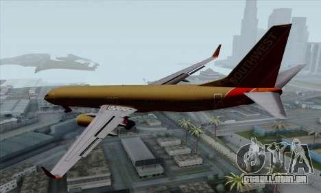 Boeing 737-800 Southwest Gold para GTA San Andreas esquerda vista