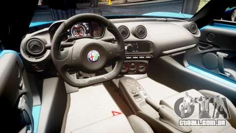 Alfa Romeo 4C 2014 para GTA 4 vista de volta