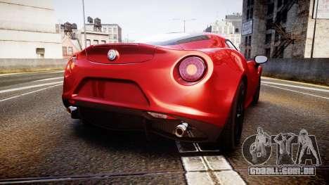 Alfa Romeo 4C 2014 para GTA 4 traseira esquerda vista