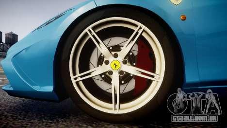 Ferrari 458 Speciale 2014 para GTA 4 vista de volta