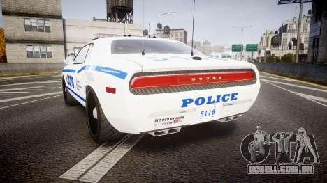 Dodge Challenger LCPD [ELS] para GTA 4 traseira esquerda vista