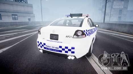 Holden Commodore Omega NSWPF [ELS] para GTA 4 traseira esquerda vista