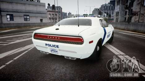 Dodge Challenger Homeland Security [ELS] para GTA 4 traseira esquerda vista