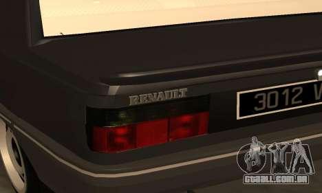Renault 9 TSE 1992 para vista lateral GTA San Andreas
