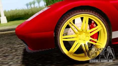 Pegassi Infernus Cento Miglia para GTA San Andreas traseira esquerda vista