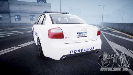Audi S4 Serbian Police [ELS] para GTA 4 traseira esquerda vista