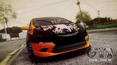 Honda Fit Street Modify Inori Yuzuriha Itasha para GTA San Andreas vista traseira