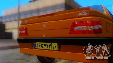 Peugeot 405 Slx Taxi para GTA San Andreas vista traseira