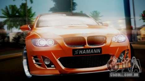 BMW M3 E92 Hamman para GTA San Andreas traseira esquerda vista