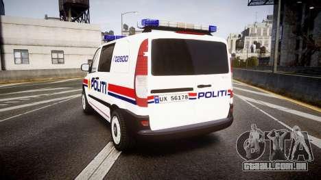 Mercedes-Benz Vito 2014 Norwegian Police [ELS] para GTA 4 traseira esquerda vista