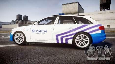 Audi S4 Avant Belgian Police [ELS] para GTA 4 esquerda vista