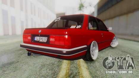 BMW M3 E30 B. O. Construção para GTA San Andreas esquerda vista