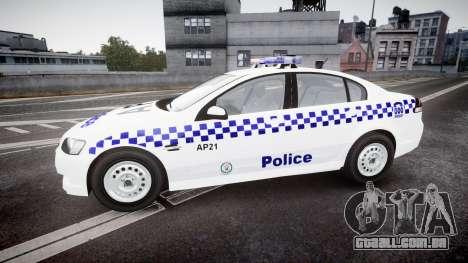 Holden Commodore Omega NSWPF [ELS] para GTA 4 esquerda vista