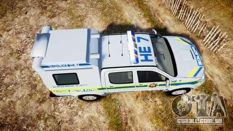 Toyota Hilux 2010 South African Police [ELS] para GTA 4 vista direita