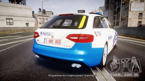 Audi S4 Avant Belgian Police [ELS] para GTA 4 traseira esquerda vista
