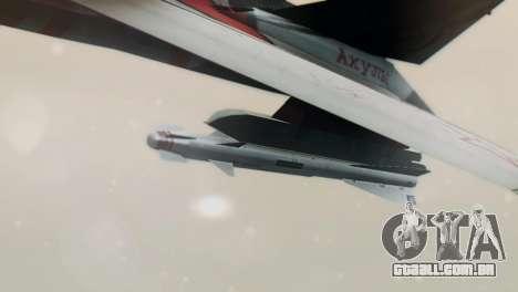 T-50 PAK-FA -Akula- para GTA San Andreas traseira esquerda vista