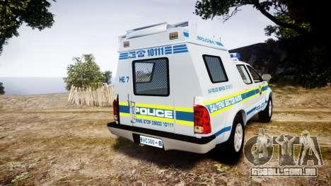 Toyota Hilux 2010 South African Police [ELS] para GTA 4 traseira esquerda vista