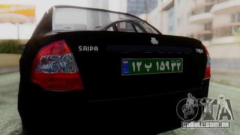 SAIPA Tiba Police v1 para GTA San Andreas vista traseira