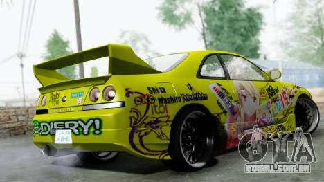 Nissan Skyline R33 Shiina Mashiro Itasha para GTA San Andreas esquerda vista