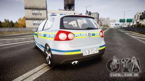Volkswagen Golf South African Police [ELS] para GTA 4 traseira esquerda vista