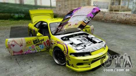 Nissan Skyline R33 Shiina Mashiro Itasha para GTA San Andreas vista traseira