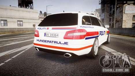 Mercedes-Benz E63 AMG Estate 2012 Police [ELS] para GTA 4 traseira esquerda vista