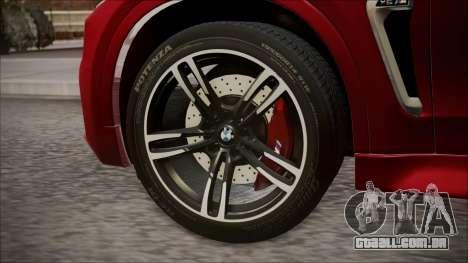 BMW X6M 2015 para GTA San Andreas traseira esquerda vista