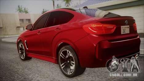 BMW X6M 2015 para GTA San Andreas esquerda vista