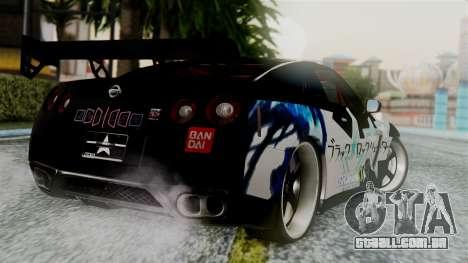 Nissan GT-R R35 Black Rock Shooter Itasha para GTA San Andreas esquerda vista