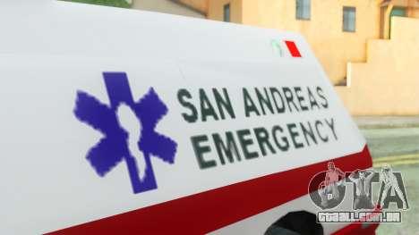Premier Ambulance para GTA San Andreas vista direita